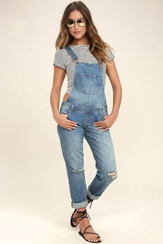 Lend a Hand Medium Wash Distressed Denim Overalls