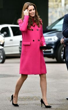 The Duchess of Cambridge showed off her glow in a lovely bright pink coat and black pumps as she toured the Stephen Lawrence Centre in London for her final public appearance before baby No. 2.