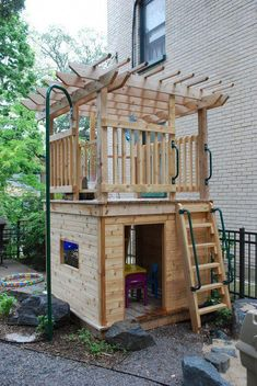 "Fun Designated Play Area from ""Organized Outdoor Play Areas"" #woodworkingforkids #kidsoutdoorplayhouse"