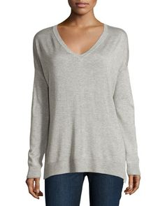 Lightweight V-Neck Sweater, Heather Gray by Vince at Neiman Marcus Last Call.