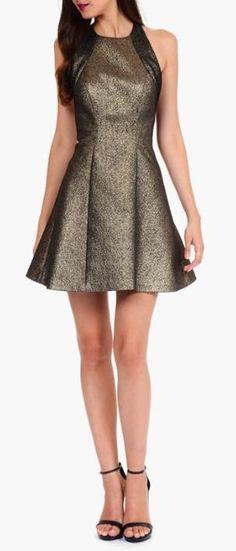 Metallic bronze party dress.