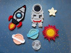 Space Odyssey Applique Pack- Crochet Pattern Only- Rocket- Astronaut- Sun- Moon- Planet- Star- Croch Crochet For Kids, Crochet Baby, Knit Crochet, Applique Patterns, Knitting Patterns, Crochet Patterns, Crochet Motif, Crochet Flowers, Crochet Embellishments