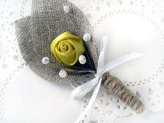 Yellow Flower burlap Boutonniere (buttonhole)