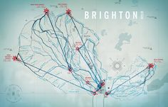 Brighton Ski Resort, Utah—Trail map created snowboarding with a GPS. | jonathanorjack | winter sports, skiing