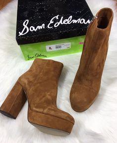 d669a7ffe083 NIB Sam Edelman Azra Boots Sz 9 Platform Ankle Bootie Brown Suede Festival  NEW