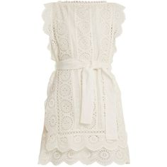 Zimmermann Lumino Daisy broderie anglaise dress (1.771.000 COP) ❤ liked on Polyvore featuring dresses, ivory, white loose dress, daisy dress, floral print dress, flower print dress and slimming dresses
