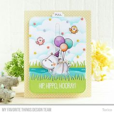 Hip, Hippo, Hooray! My new stamp set, Happy Hippos has revealed! This is one of two cards on my blog today. #mftstamps #mftcountdown #birdiebrown #slidercard #interactivecard #handmadecards #cardmaking #birthdaycard #hippo
