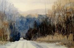 """""""North White Road"""" by Sandy Strohschein Watercolor ~ 15 x 22"""