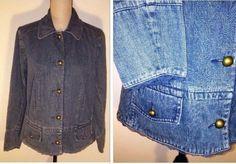 d42491bb79a20 Cato Womens Size 14 16W Jean Jacket Denim Blue Big Dome Brass Button Lace  Trim  Cato  JeanJacket  Casual