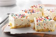 No-bake cheesecake bars!  Yes, you read that right.  Our Birthday Cake No-Bake Cheesecake Bars take just 15 minutes to prepare, no baking required.