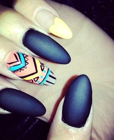 black-tribal-stiletto-nails-with-rhinestones