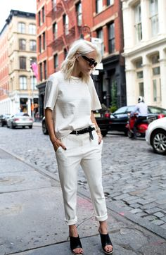 Tibi Pin Striped Matching Trousers and Top NYC Street Style Blogger Style
