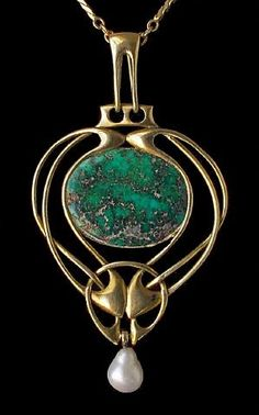 Archibald Knox (1864-1933) - For Liberty & Co. - Pendant. Gold with Turquoise & Baroque Pearl. London, England. Circa 1900. 5.6cm x 3cm.