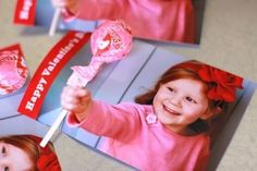 Photo Valentine: Have you seen these yet? The Photo Valentine is really easy, clever and fun. Simply take a picture of your child with their hands reached out toward the camera, then create a hole for a pencil or lolipop to go through where the hand is.    See how DesignMom makes Photo Valentines>>      See more ideas on our Valentines from Kids Pinterest board.        Photo Source: LilSugar via DesignMom