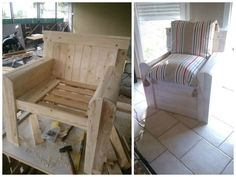 Pallet Chair #PalletChair, #RecycledPallet, #RepurposedPallet