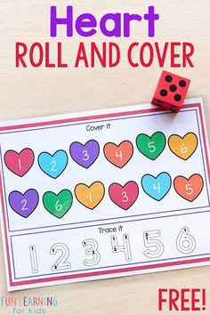 This heart roll and cover activity is perfect for math and literacy centers this Valentine's Day! #valentinesday #hearts #math #kindergarten #preschool