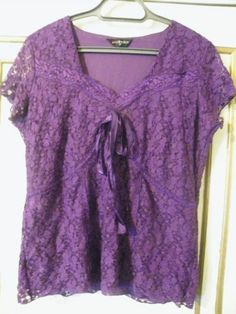 Beautiful purple floral lace top from Bonmarche, size M | eBay