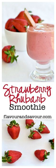 Strawberry-Rhubarb Smoothie. Why make a strawberry-rhubarb pie when you can have a healthy smoothie? Paleo and Vegan! Made with banana, strawberries, rhubarb, chia and naturally sweetened with maple syrup or honey. |www.flavourandsavour.com