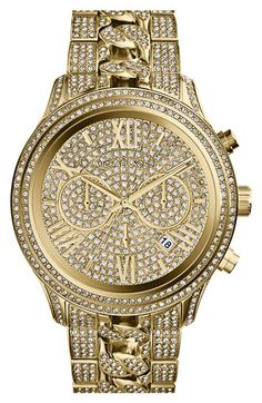 Free shipping and returns on MICHAEL Michael Kors Michael Kors 'Lindley' Pavé Chronograph Bracelet Watch, 48mm at Nordstrom.com. Let everything sparkle. Radiant crystals blanket every part of a round statement watch finished with a unique bracelet made from traditional and chain-style links.