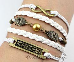 Bronze owl charm infinite & friendship bracelet with white rope white leather woven fashion bracelet charm bracelet-Q205 by luckystargift, $4.59
