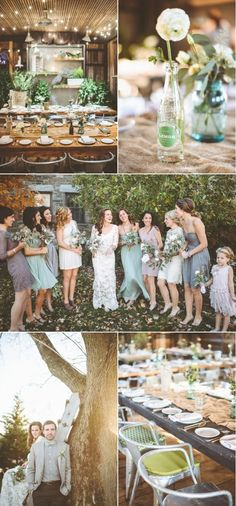 Possible bridesmaid's dress. Earth tones; Ash green, grey, brown. Different styles/textures.
