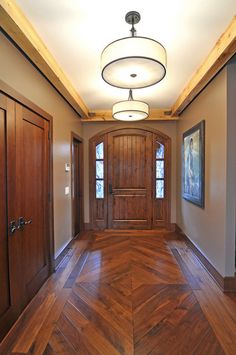 Good Looking Wood Floor Patterns For Your Home Flooring : Awesome Traditional Entry Design With Cool Wood Floor Patterns Also Elegant Pendant Lights Also Brown Front Door Design With Bedboard Style Also Gray Wall Paint Color Wood Floor Design, Baseboard Styles, Wood Floors Wide Plank, House Flooring, Wood Floor Installation, Hardwood Floors, Flooring, Woodworking Furniture Plans, Entry Design