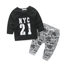 Baru 2016 musim gugur bayi laki-laki pakaian set katun lengan panjang t-shirt + celana anak busana bayi pakaian bayi 2 pcs setelan
