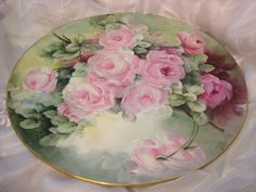 """""""BREATHTAKING ROSES"""" Absolutely Magnificent Rare Large 18"""" Antique Hand Painted Limoges France Charger Plaque Tray Victorian Heirloom Floral Art China Painting Original ONE-OF-A-KIND Handmade Superb Artistry Tressemann and Vogt Circa 1910"""