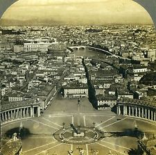 1901 Stereoview Photo Italy Rome from the Balcony of St Peter's Cathedral Keystone