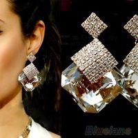 Mujeres Square nueva moda cristal de lujo espumosos grandes pendientes de gota 1IOE