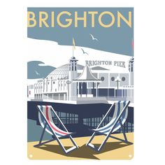 Brighton Pier print (the owners changed the sign from Palace Pier in an informal name change not recognised by the National Piers Society or many Brightonians). The full name of the pier is 'Brighton Marine and Palace Pier' British Travel, British Seaside, British Isles, Travel Uk, Brighton And Hove, Brighton Sussex, Brighton England, Railway Posters, Vintage Travel Posters