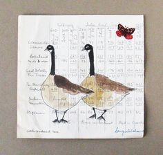 Folk art, painted drawing on antique ledger paper, Canada Geese