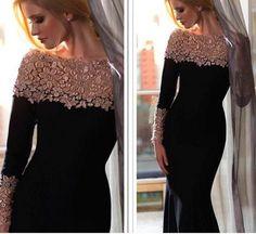 Affordable Evening Dresses New 2015 Fashion Black Velvet Evening Dress Vestido De Noite Long Sleeve Applique Bateau Neck Elegant Mermaid Formal Gown Prom Dresses Black Formal Dress From Aijiayi, $111.84| Dhgate.Com