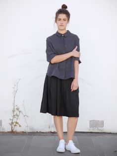 Elizabeth + Birgitta linen shirt and skirt