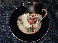 Anseley England tea cup & saucer demitasse demi D5190