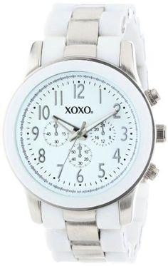 XOXO Womens Silver and White Bracelet Analog Watch