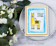 Another fun stamped card by Heather Hoffman! Love how she brought the Lorenzo the Llama stamps to life with her coloring!