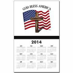 God Bless American With US Flag and Rugged Cross Calendar Print   •   This design is available on t-shirts, hats, mugs, buttons, key chains and much more   •   Please check out our others designs at: www.cafepress.com/TsForJesus