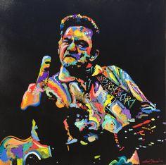 CUSTOM Art Painting Johnny Cash by Matt Pecson Pop Art Painting Canvas Large Wall Art 24x24 Best Selling Items Husband Gift Boyfriend Gift