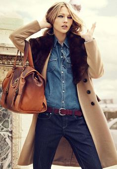 Denim with camel coat and great bag.