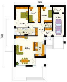 Wygodny, rodzinny dom z wejściem od południa, przeznaczony dla 4-osobowej rodziny. Ten parterowy budynek o niewyszukanej bryle i stonowanej kompozycji kolorystycznej odznacza się prawdziwą elegancją. Projekt charakteryzuje się przestronną częścią dzienną z licznymi przeszkleniami, wygodną częścią nocną z trzema sypialniami oraz obecnością częściowo zadaszonego tarasu i jednostanowiskowego garażu. Planer, Bungalow, My House, House Plans, Floor Plans, Real Estate, Layout, How To Plan, Projects
