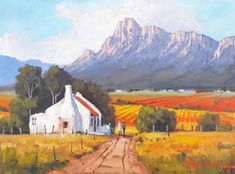 Landscape Paintings Oil Painting - Cape Winelands Farmhouse by Willie Strydom Flower Painting Canvas, Painting Trees, Canvas Art, Beautiful Landscape Paintings, African Artwork, Building Painting, Building Illustration, South African Artists, Mountain Paintings