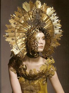 ... headdress haute couture gold headpiece magnificent jean paul gaultier