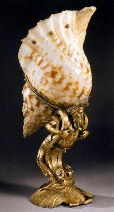 DEGEN, Endris II Seashell Cup. 1580. Shell of a knobbed triton, gilt silver.