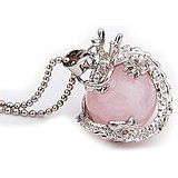 Healing Gemstone Jewellery Mrs IXIQI Natural Quartz Crystal Point Pendant with Chain Rose Quartz Crystal, Crystal Pendant, Crystal Healing, Dragon Pendant, Pink, Hot, Pendant Necklace, Gemstones, Chain