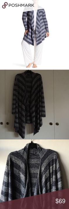Barefoot Dreams striped cardigan - size 1X Barefoot dreams bamboo chic lite striped cardigan Note: my lighting is dark. New pics to come soon.  Size 1X Open, draped front Oh so cozy Excellent condition Barefoot Dreams Jackets & Coats