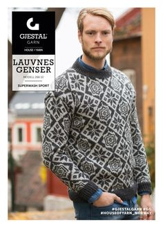 Dagens gratisoppskrift: Lauvnes Genser   Strikkeoppskrift.com Knitting Designs, Knitting Patterns, Sweater Jacket, Men Sweater, Fair Isle Pattern, Fair Isle Knitting, Rubrics, Color Patterns, Norway