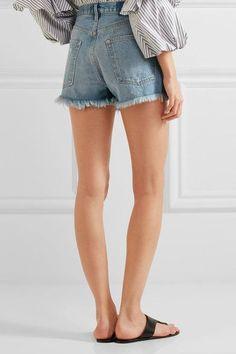 FRAME - Rigid Re-release Le Original Distressed Denim Shorts - Mid denim - 29