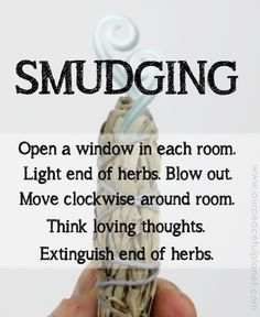 Cleanse and bless your home using the Native American ceremony of smudging with white sage. It removes negative energy and odors immediately! Smudging Prayer, Sage Smudging, Reiki, Spiritual Cleansing, Sage Cleansing Prayer, Energy Cleansing, Burning Sage, Removing Negative Energy, Mabon