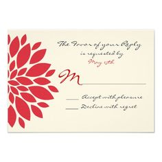 Pretty Simple Red Flower Art Wedding RSVP Cards  #SOLD on #Zazzle